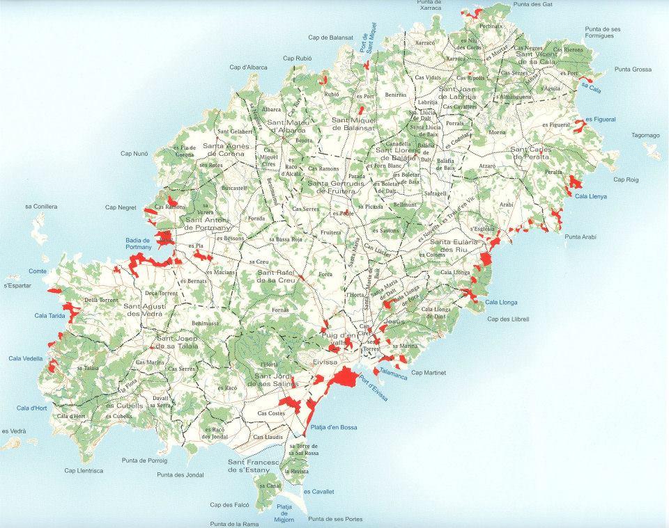 Mapa de la isla de Ibiza representando la división por véndes y los principales núcleos de población