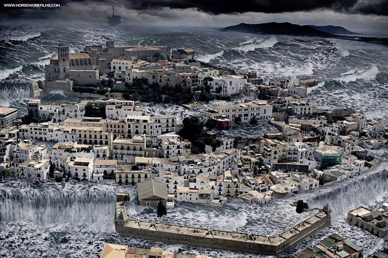 En Ibiza llueve poco, pero las tormentas suelen ser de consideración (aunque la foto es un montaje). Fuente: Horseworkfilms.com