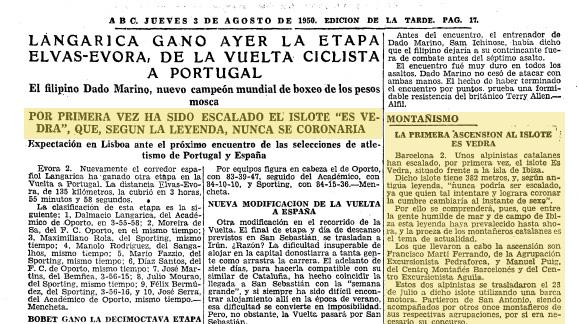La noticia de la primera ascensión de Es Vedrà. Fuente: Diario ABC (3 de agosto de 1950)