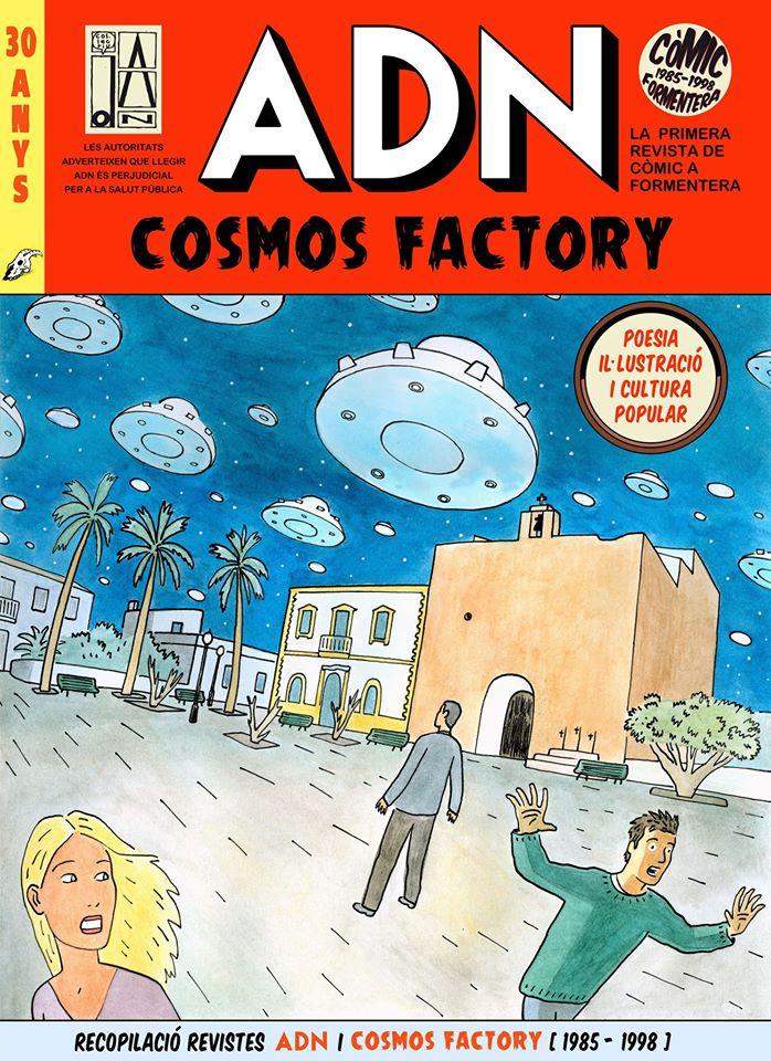 Los OVNIS han influido en obras culturales: Portada del recopilatorio ADN - Cosmos Factory, con la iglesia de Sant Francesc de Formentera sobrevolada por decenas de OVNIS.