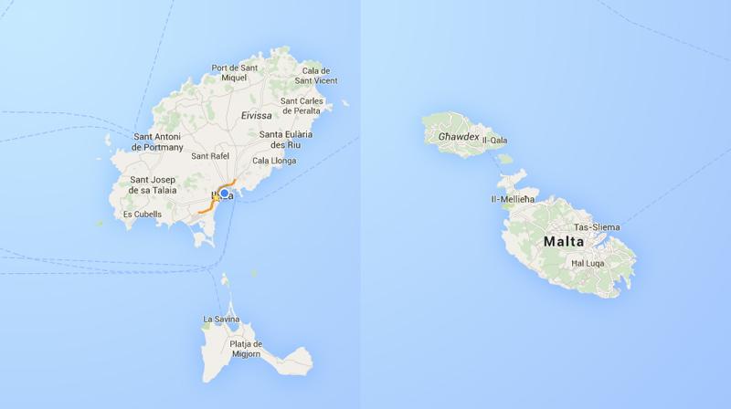 A la izquierda las Islas Pitiusas (Ibiza y Formentera). A la derecha las islas de Comino, Gozo y Malta (República de Malta).