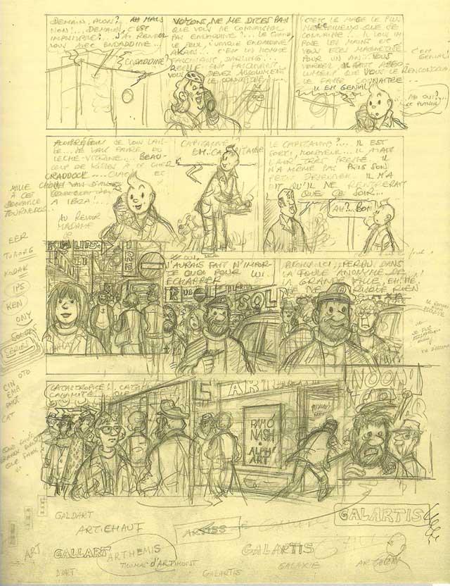 Plancha número 3 de Tintín y el Arte Alfa. (Editorial Juventud)