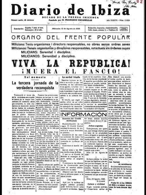 El Diario de Ibiza publica ¡Viva la República! en portada el 12 de agosto, cinco días después de la entrada de los republicanos en la isla.