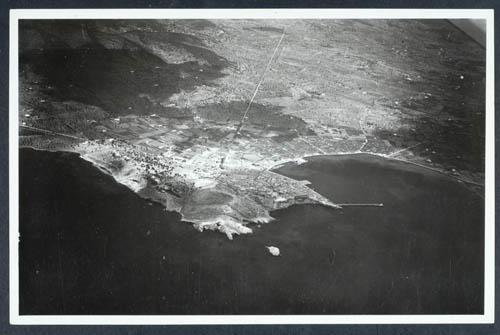 Imagen tomada por uno de los tripulantes de los aviones que bombardearon Ibiza el 13 de septiembre de 1936. Fuente: Arxiu fotogràfic del centre de història contemporània de Catalunya