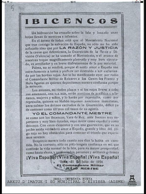Propagando franquista en respuesta al anterior folleto republicano. Apela al valor del General Vara de Rey.